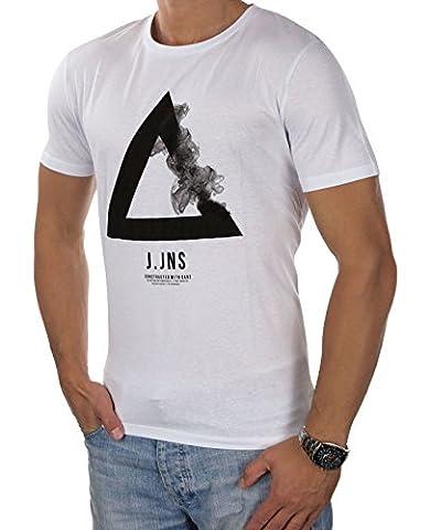 JACK & JONES Herren T-Shirt jcoFAITH jcoVANA Tee Rundhals Logoprint Bunt Slim Fit (M, Weiß (White Fit:REG