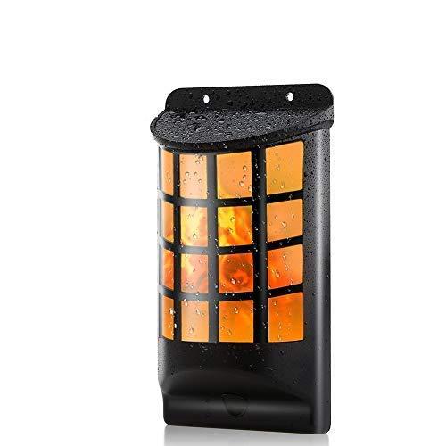 LED Solar Wandleuchten Halbrund Gitter Wasserdicht Flickering Flame Lights Wandlampe für Außen Garten Höfen Auffahrten Treppen Zaun mit dunklen Sensor Automatisch EIN/AUS (1Stück)