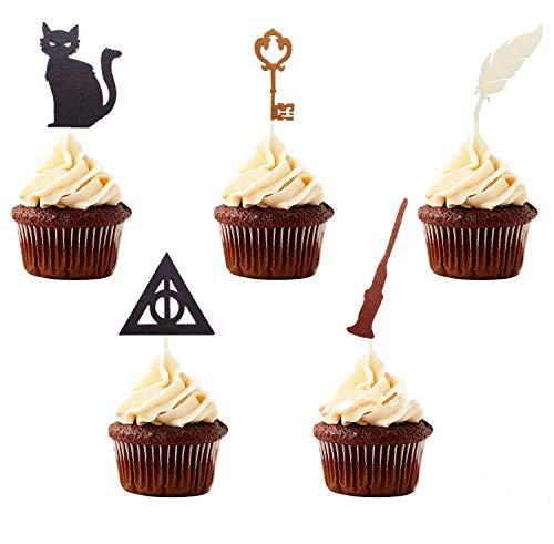 15 Stück JeVenis Harry Potter inspirierte Cupcake-Topper Harry Potter Harry Potter Cupcake Topper für Zauberer Party Dekorationen Zauberer Geburtstag Party Supplies