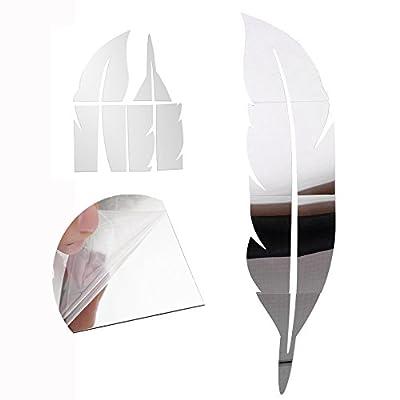 Cisixin Spiegel Oberfläche Feder DIY 3D Silber Wandtattoo Haus Dekoration 120cm*30cm