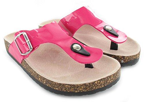 Flops Sandalen Auf Flip Kork Fuchsia Flachen Zehensteg Damen Slip Sommer PwSOn8q