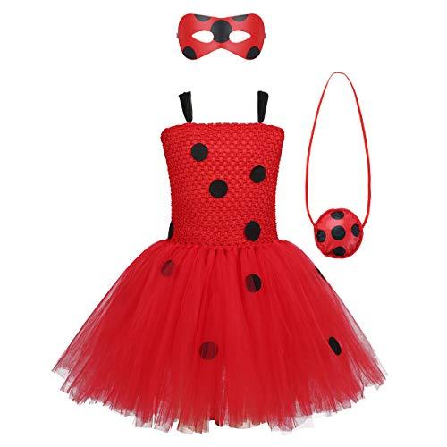 inlzdz 3er Mädchen Käfer Kostüm Set Polka Dots Prinzessin Tutu Kleid+Augenmaske+Tasche Ladybird Cosplay Kleid Karneval Fasching Partykleid Rot 110-116 Voller Rock Polka Dots Rock