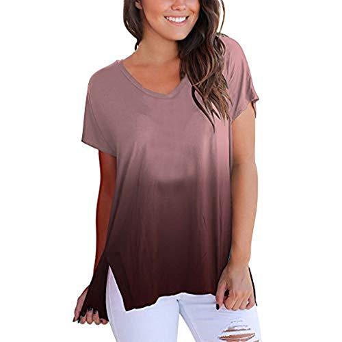 JUNMAONO Frauen Kurzarm V-Ausschnitt Lose Farbe Lose Beiläufige Top Bluse T-Shirt Tops Sommer Longshirt Damen Bluse Frauen Hoodies Sweatshirts Farbverlauf Tops -
