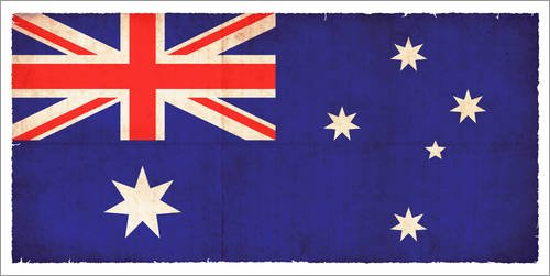 Forex 40 x 20 cm: Old Flag Australia in Grunge Style de Christian Müringer Illustration Art