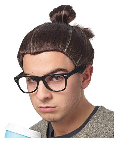 Braune Hipster Herren Perücke mit Man Bun als Kostümzubehör