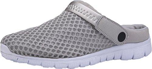 Gaatpot Damen Herren Clogs Pantoletten Slip On Outdoor Hausschuhe Freizeit Mesh Strand Sandale Schuhe Sommer Grau 39 EU = 40 CN