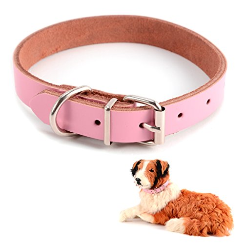 Real-Leather-Adjustable-Pet-Puppy-Dog-Collars-w-D-Ring-Safety-Small-Medium-Large