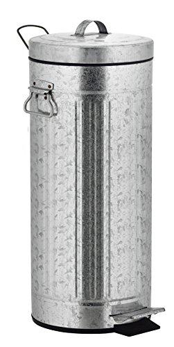KITCHEN MOVE Pattumiera vintage, con pedale, in stile industriale, in metallo/ABS/plastica, Metallo, acciaio, 30x30x68,5 cm