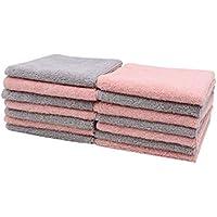 Zollner 14er-Set Abschminktücher aus Microfaser, ca. 25x25 cm, Farben 7X rosa und 7X Hellgrau