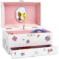 JewelKeeper - Caja Musical para Joyas Blanca para Niñas, Decorada de Flores y Pájaros,