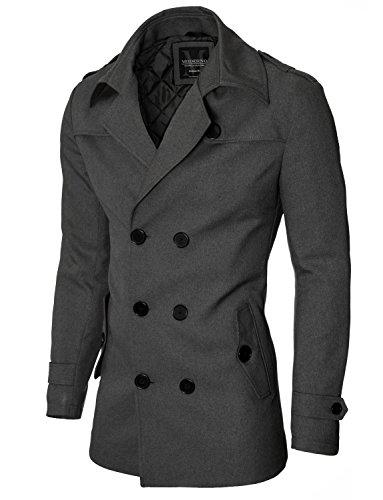Mantel Herren Slim Fit Business Doppelreiher von MODERNO (MOD13538C) Dunkelgrau EU M