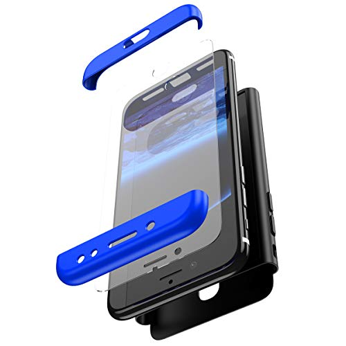 PHEZEN kompatible Galaxy J7 Pro 2017 Hülle, 360 Rundumschutz robuste Schutzhülle mit gehärtetem Glas, stoßfest, kratzfest, harte Polycarbonat-Hülle für Samsung Galaxy J7 Pro 2017 blau/schwarz