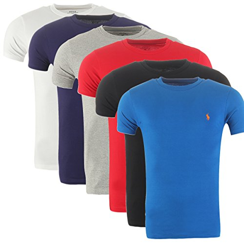 RALPH LAUREN Shirt Custom Fit T-Shirt S-M-L-XL Outletware Hellgrau
