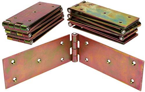 KOTARBAU Kistenband 250 x 50 mm 10 St. Scharnier Gerollte Tischband Möbelscharnier Verzinkt Gold Torband Möbelband Türscharnier 2 Flügel Top-Qualität
