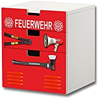 """Preisvergleich für """"Feuerwehr"""" Möbelsticker / Aufkleber - S3K20 - passend für die Kinderzimmer Kommode mit 3 Fächern / Schubladen STUVA von IKEA - Bestehend aus 3 passgenauen Möbelfolien (Möbel nicht inklusive)"""