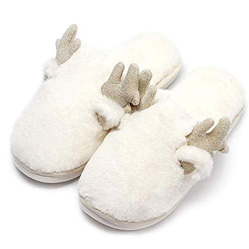 KIKIYA Frauen Warme Plüsch-Weiche Sohle Indoor-Slipper Furry Winter Stiefel Hausschuhe,White,35/36 (Furry Stiefel White)