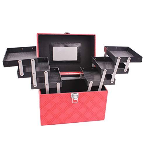 Malette maquillage Beauty case Portable grande capacité Multi-fonction Voyage Boîte de rangement pour cosmétiques Rangement professionnel Bijoux Ongles,Red