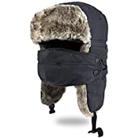 Unisex Trooper Trapper Hat, Warm Thick Winter Hats Ear Flap Bomber Hat with Windproof Mask for Hiking, Skiing, Skating and Climbing