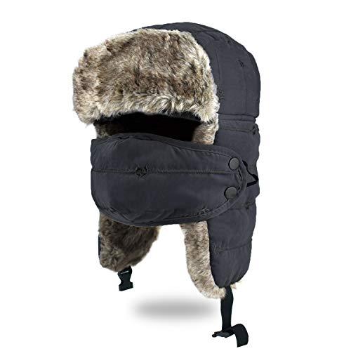 BROTOU Unisex Sombrero de Invierno, Trooper, Trapper, de Felpa Sombrero a Prueba de Viento Sombrero Caliente Gorro Antipolvo Sombrero de Esquí Ciclismo