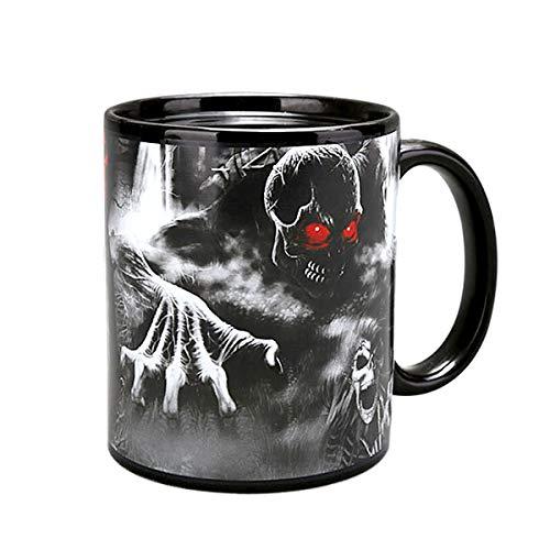 ASEOK Creative Midnight Nightmare Thermische Farbwechsel Kaffeetasse, Keramik animierte Bild Keramik schwarz Kaffee Magie Becher, Weihnachten Halloween Kinder Geschenk (Style-A) (Animierte Halloween Bilder)