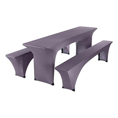 SCHEFFLER-HOME Paul Bierzelt-Garnitur 3tlg. Set für Tisch und Bänke Stretch-Hussen 50x220 cm,...