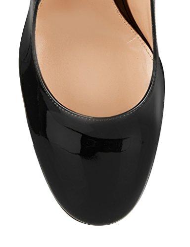 EDEFS - Chaussure Mode Escarpin - Talon Hauts Bloc - Bout Rond fermé - Soirée Mariage Grand Femme Noir