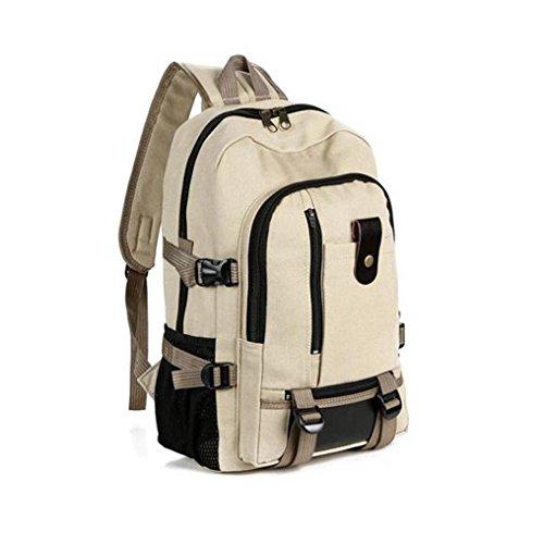 Leinwand Vintage Reisetasche, Kingwo Herren Leinwand Leder Rucksack Sport Rucksack Satchel Schule Wandertasche Ideal für Camping, Wandern, Reisen, Camping (Braun)