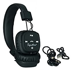 Signature Brand Samsung Galaxy J7 Compatible VMB-23 Model High Quality Stereo Bass Bluetooth Headphone Cum Bluetooth Headset With Call Functions And Mp3 Card Support For Iphone,Samsung,Nokia And All Other Smartphones (Black Color) + Free Signature VM-12 Earphone Worth RS.249