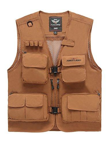 MatchLife Hommes Veste Sans Manches Gilet de Maille Respirant Multi Poches Gilet de Pêche Style9-marron