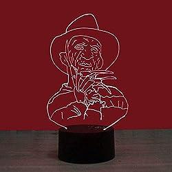 Base de luz nocturna 3D geek negro LED Lámpara de Mesa Luces de Noche para Niños Decoración Tabla Lámpara de Escritorio 7 Colores Cambio de Botón Táctil y Cable USB