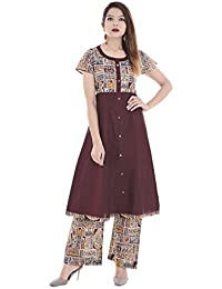 Palakh Women's Cotton Dark Brown A-line Block Printed Kurti With Printed Palazzo