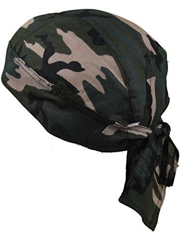 Bandana pañuelo para la cabeza pre atada bosque de camuflaje marrón y...