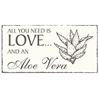 Targa decorativa « All You Need Is Love and Aloe Vera » Aloe Vera fiorire legno Targa vintage Targa per porta salute Beauty Spa Cura Botanica