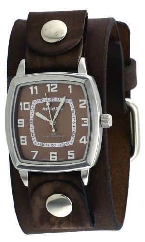 Nemesis #NFB017B Men's Vintage Square Collection Brown Wide Leather Band Watch