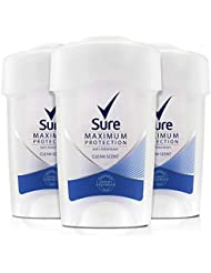 Sure Women Maximum Protection Clean Scent anti-Perspirant Deodorant Cream, 45 ml, Pack of 3