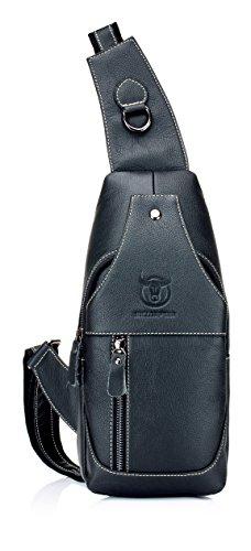 Imagen de weedee  bolso hombre pequeña piel,  de cuero autentico, bolsos de hombro y pecho, bolsos bandolera, bolsa resistentes al agua para escolare ciclismo senderismo negro  alternativa