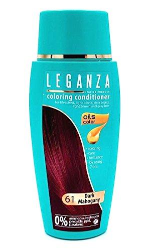 Dunkel Braun Haarfarbe Highlights (Leganza Färbender Conditioner Farbe 61 Mahagoni Dunkel Mit 7 Natürlichen Ölen Ammoniak und Paraben frei)