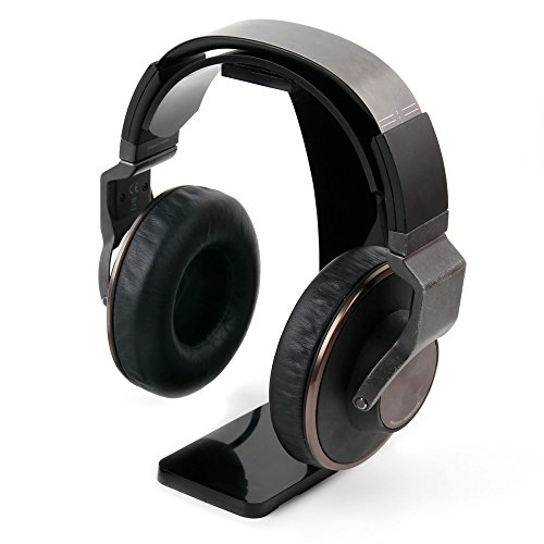 DURAGADGET Soporte negro para auriculares Panasonic RP-HT21/RPTCM125/Technics RP-DJ1210E/Motorola Moto Pulse con recogecables