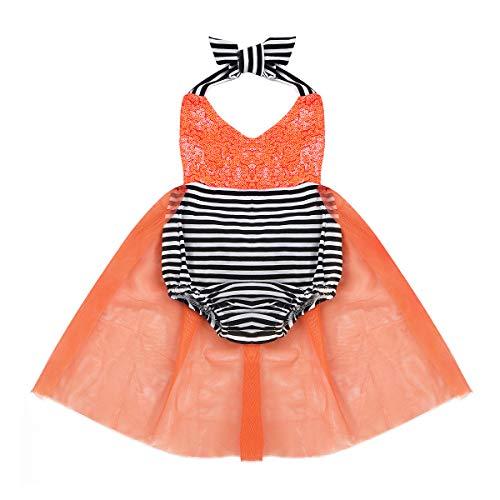 (iixpin Baby Mädchen Orange Strampler mit Tütü Rock Märchen Prinzessin Kleid Festlich Party Halloween Kürbis Karneval Fasching Kostüm Orange 74-80)