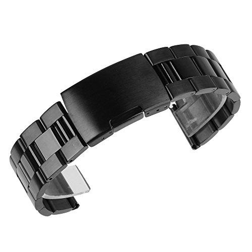 Beauty7 26mm Schwarz Edelstahl Uhrenarmband Uhrenarmbänder mit Faltschließe Metall Uhr Armband