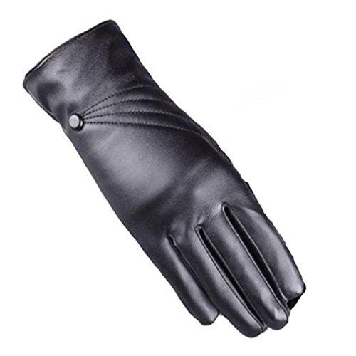 Longra Luxuriöse Frauen Mädchen Leder Winter super warm Handschuhe Kaschmir Bildschirm berühren (Schwarz) (Fingerlose Gel Motorrad Leder Handschuhe)
