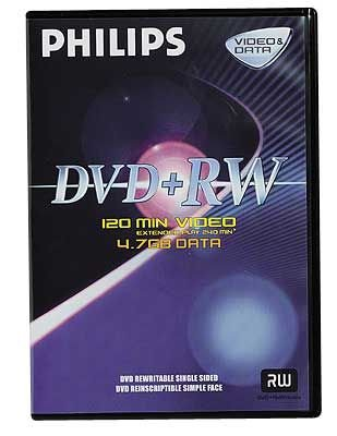 Philips DVD+RW Rohling in Videobox, 4,7 GB/120 Min, 4x Speed, 10 Stück