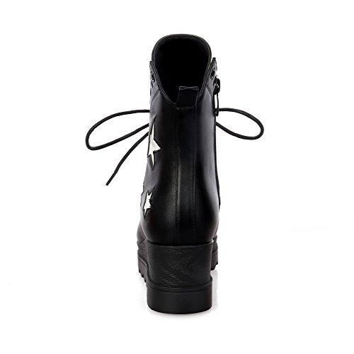 AllhqFashion Damen Blend-Materialien Reißverschluss Mittler Absatz Niedrig-Spitze Stiefel Schwarz