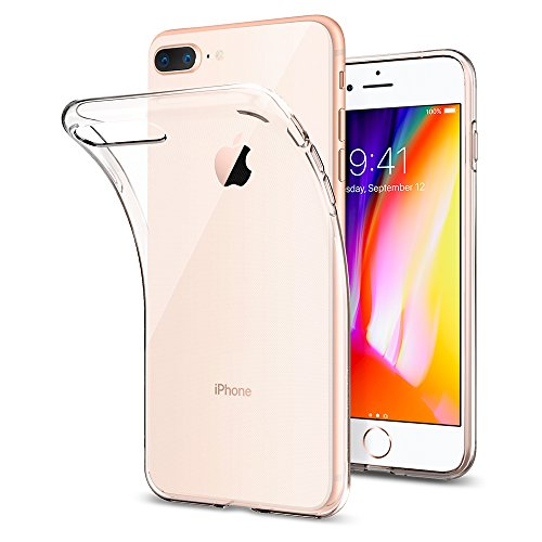 Spigen 043CS20479 - Funda iPhone 8 Plus (2017) / Funda iPhone 7 Plus (2016) con Gel de Silicona Trasparente suave - Transparente