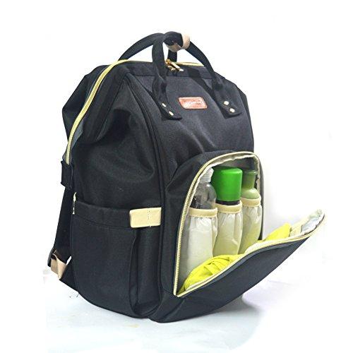 Baby Windelrucksack, Wickeltasche, Acelink Multi-Funktions-Reisewickeltasche mit mehreren Innenfächern für Mama und Papa (schwarz)