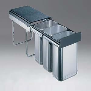 edelstahl abfallsammler dreifach getrennt je 10 liter edel 30 3h auszugsystem f r einbau in. Black Bedroom Furniture Sets. Home Design Ideas