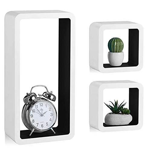 Bakaji set 3 mensole da parete moderne design rettangolare e cubo mensola scaffale 2 ripiano in legno mdf varie dimensioni (bianco nero)