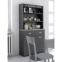 buffet alto de cocina con puertas y cajones gris grafito cm