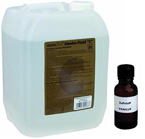 Nebelmaschine Lösung (5 Liter Eurolite C (Standard) Nebelfluid + 30 ml Duftstoff Vanille, Smoke-Fluid, Nebel-Fluid-Flüssigkeit für)