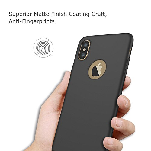 "iPhone X Case, VMAE Full Body Matte Ultral Slim Hard PC Light Weight Case, Anti-Fingerprints Shock Resistant Protective Cover [Camera Protection] for Apple iPhone X/iPhone 10 5.8"" - Silver Black"